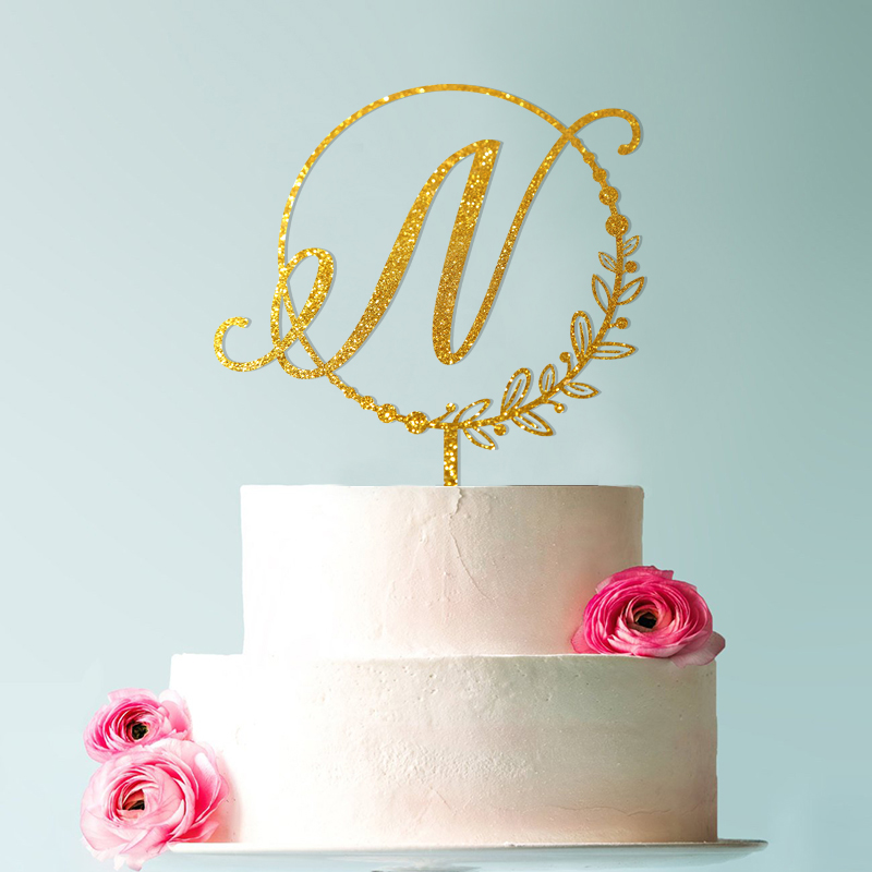 Initial Circle Half Wreath Pearls Cake Topper Letter Cake Topper Rustic Topper Wreath Initials Cute Toppers in Cake Decorating Supplies from Home Garden