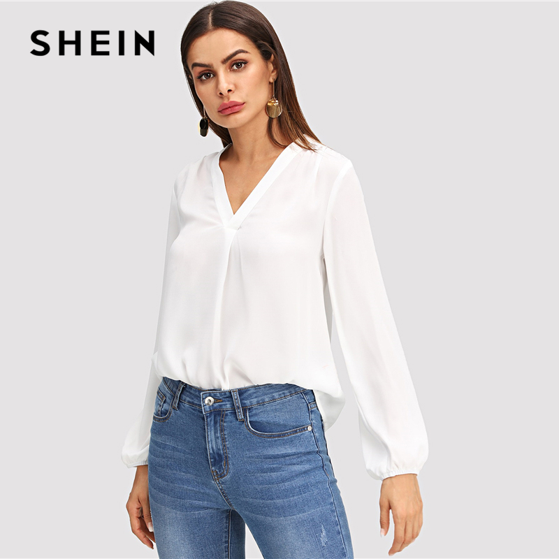 9f3190052c SHEIN White V Neck Plain Top Workwear Modern Lady Pullovers Long Sleeve  Blouse 2018 Fall Bohemian OL Work Elegant Blouses-in Blouses & Shirts from  Women's ...