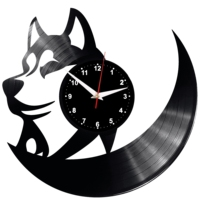 Wolf Wall Clock Vinyl Vinyl Record Retro Clock Handmade Vintage Gift Style Room Home Decorations Great Gift Clock