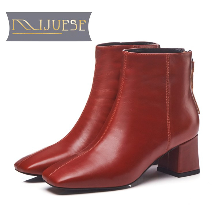 MLJUESE 2019 women ankle boots cow leather wine red color winter short plush fringe high heels