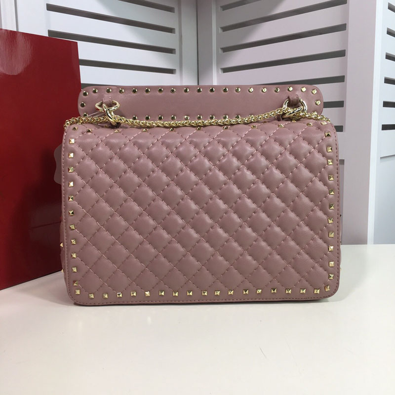 Fashion famous new Genuine leather woman handbag high quality rivets chain lady shoulder bag luxury famous brand purse-in Shoulder Bags from Luggage & Bags    2