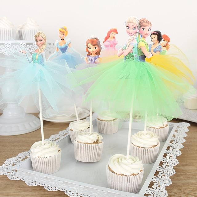 4 X Princess Cake Topper Deco Yarn Dress Sofia Rapunzel Elena Of Avalor Cupcake