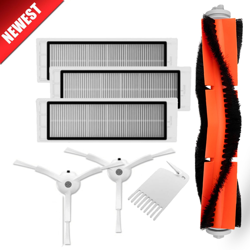 3PCS hepa filter+2PCS side brush+1PCS main brush Suitable for Xiaomi Mi Robot Roborock S50 S51 Vacuum Cleaner parts accessories 1pcs main brush suitable for xiaomi mi robot vacuum cleaner parts accessories