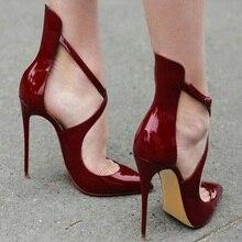 Women Patent Leather Sandal High Heels Shoes Buckle Strap Sandals Pumps Closed Toe Shoe Women Wedding Sandals fashion design women full grain leather pumps summer ankle wrap cool high heels shoes for women closed toe women sandals