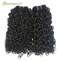 Flexi Rod Curls Double Drawn Human Hair Weft Funmi Hair Bundles 1 3 4 PCS Afro Kinky Curly Hair Weave Pixie Curl Nigeria