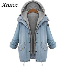 Xnxee 2018 Spring Autumn New Women Tops Loose Denim Jacket Female Hooded Jackets Coat Two Pieces Plus Size Outwear 65527
