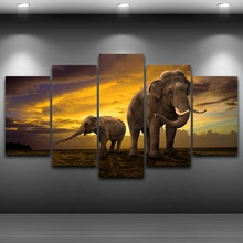 цена Canvas Art Wall Pictures Frame Home Decorative Living Room 5 Panels Elephants HD Printed Animal Poster Modern Oil Paintings