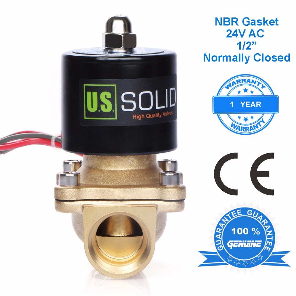 U.S. Solid 1/2 Brass Electric Solenoid Valve 24 V AC Normally Closed for water, air, diesel, CE Certified u s solid 1 stainless steel electric solenoid valve 110v ac npt thread normally closed water air diesel iso certified