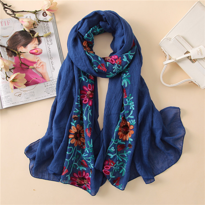 Image 5 - L12 High quality flower embroidery hijab scarf shawl  women shawl long muslim wrap headband 180*80cm 10pcs/lot-in Women's Scarves from Apparel Accessories