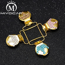 MIYOCAR  unique handmade bling colorful crown round shape pacifier clip dummy holder material SP028