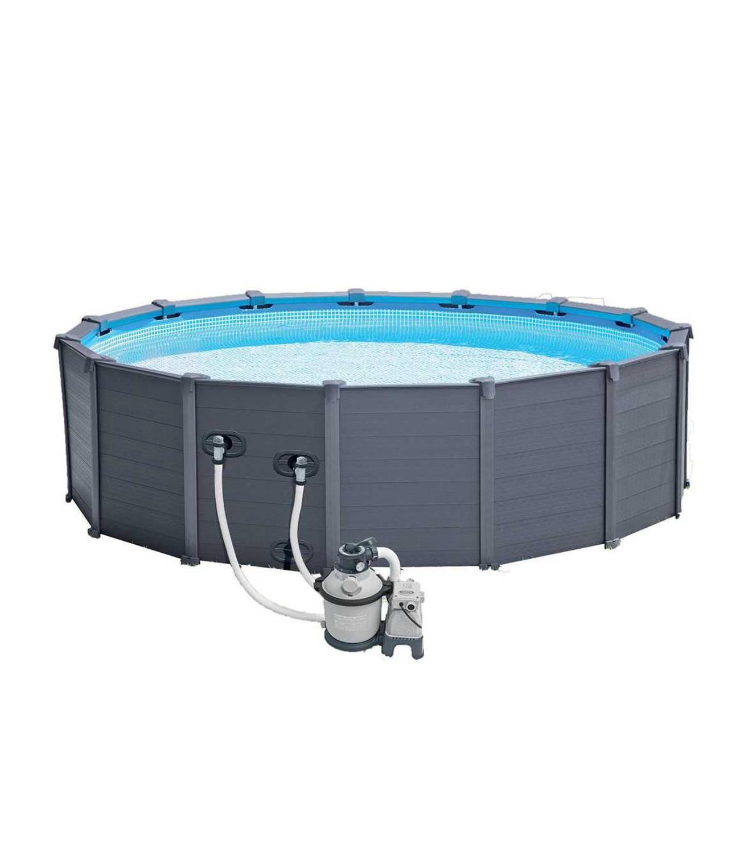 Scaffold Round Pool For Garden Summer Leisure Outdoor 478x124 Cm, 16805 L, Intex Graphite, Full Set, Item No. 26382