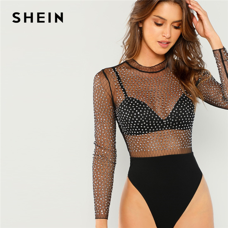 SHEIN Black Sexy Party Frill Neck Semi Sheer Mid Waist Solid Bodysuit Without Bra 2018 Autumn Club Fashion Women Bodysuits 1