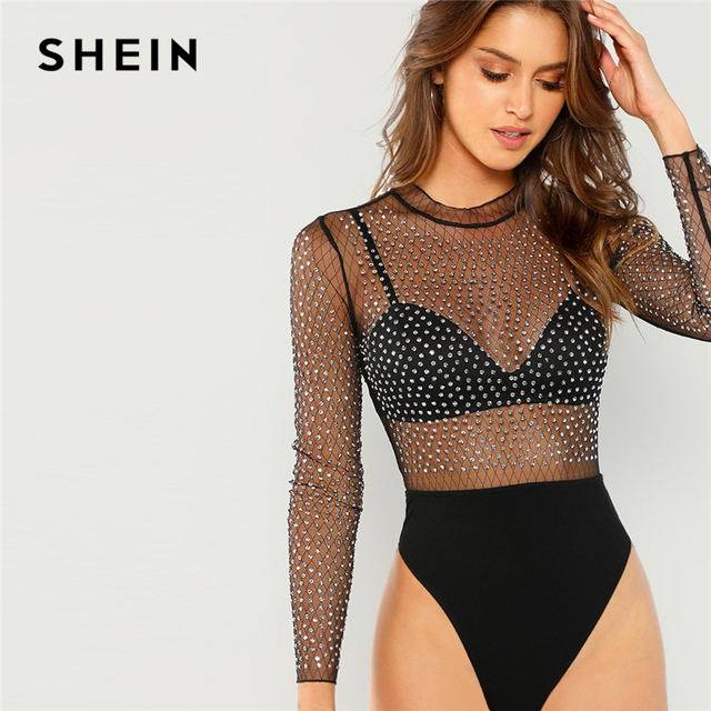 1e975fd628 SHEIN Black Sexy Party Frill Neck Semi Sheer Mid Waist Solid Bodysuit  Without Bra 2018 Autumn