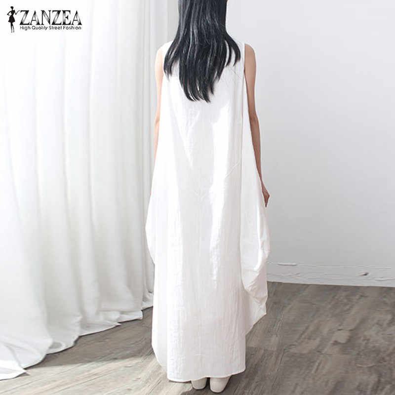 159653b11a ... 2019 Casual kaftan Linen Summer Dress Women Elegant Loose Sleeveless O  Neck Dress Cotton Long Maxi