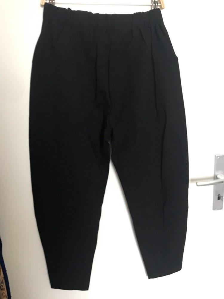 Autumn Winter High Elastic Waist Black Loose Patchwork Split Joint Brief Pants Women Trousers Fashion Tide photo review