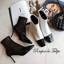BHS 9011146 Chic Square Toe Patent Leather Surface 8CM Super High Thin Heel Stilettos Pigskin Lining Elegant Fashion Women Boots