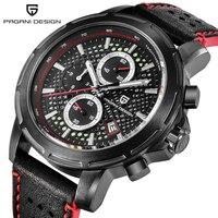 PAGANI Дизайн 2018 Новая мода кварцевые часы Для мужчин ремень из натуральной кожи Водонепроницаемый Световой Хронограф поддержка дропшиппинг