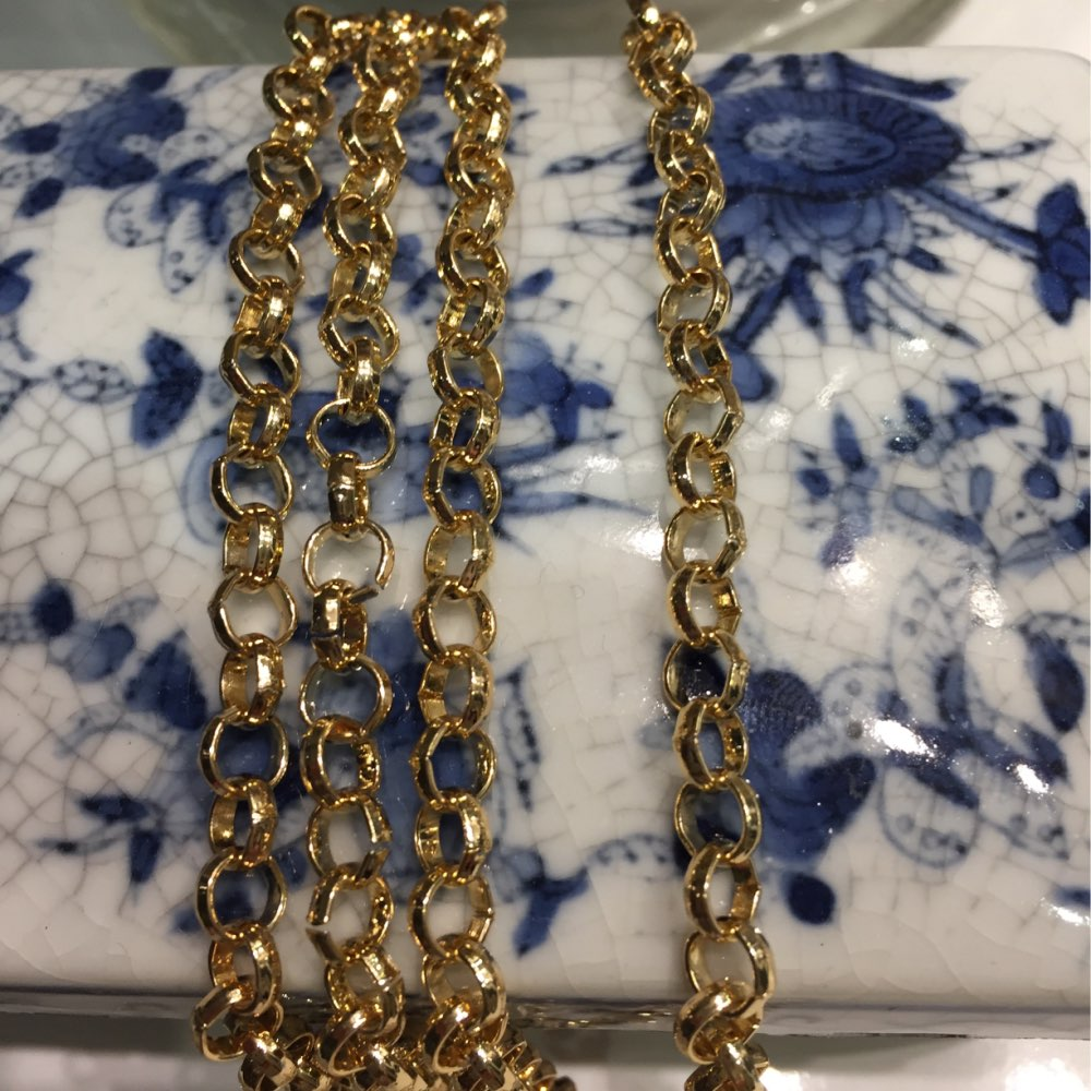 10pcs Gold color 110cm 120cm small round 6mm width o chains metal strap with hook,women chain long strap evening bag chain photo review