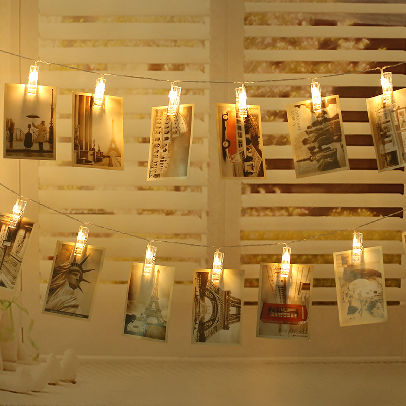 5M 20LEDS 220V EU Plug Warm White LED Card Pictures Photos Clips Lights String Light Indoor decorations For Holiday Party