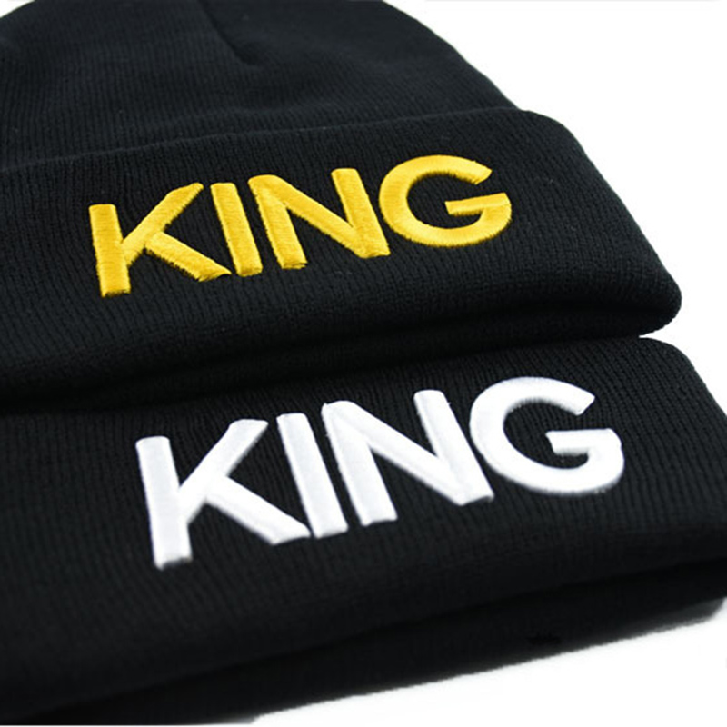 1PC KING QUEEN Embroidered Caps Lover Men Women knitted beanies Cap Black Hip Hop hats chapeau bone masculino in Men 39 s Skullies amp Beanies from Apparel Accessories