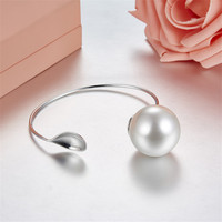 ZOZIRI top selling S925 Sterling silver adjustable small spoon bangles for women charm big pearl bracelet classic brand jewelry