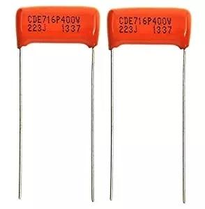 Guitar Parts USA CDE 2x (Pair) .022uf/400v Orange Drop Film Capacitors, Electric Guitar Tone Capacitors