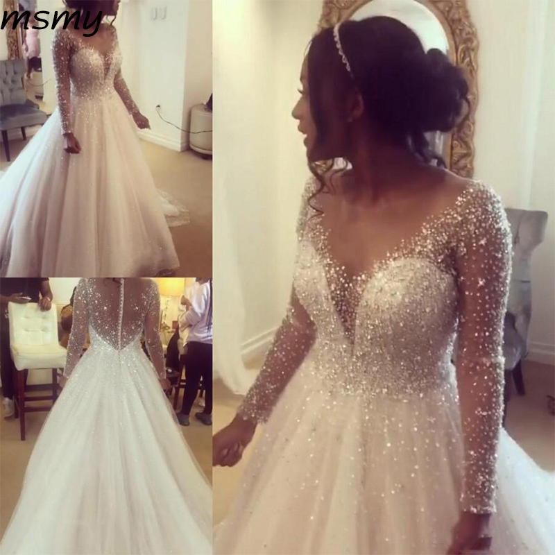 Sheer Jewel Neck A Line Boho Wedding Gowns Long Sleeves Shiny Beaded Crystals Wedding Bride Dress