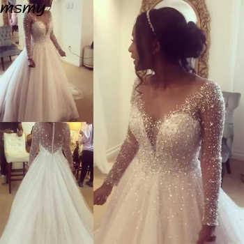 Sheer Jewel Neck A Line Boho Wedding Gowns Long Sleeves Shiny Beaded Crystals Wedding Bride Dress - DISCOUNT ITEM  21% OFF All Category