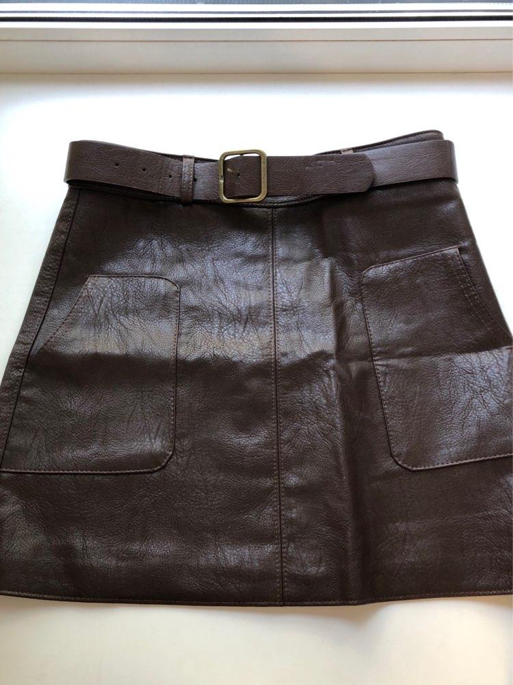 High Waist Vintage Pu Leather Mini Pencil Skirts With Belt Autumn Winter Streetwear Casual Retro A Line Skirt Female Saias photo review