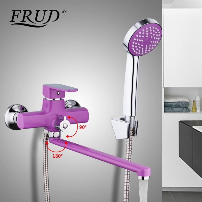 FRUD высокое качество Длинный Носик фиолетовый смеситель для ванны выпускная труба смеситель для душа спрей живопись душевая головка Ванная ...