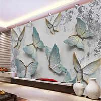Murale personalizzato farfalla in rilievo sfondo muro di 3D sfondo della parete semplice Europeo pittura decorativa all'ingrosso della fabbrica wallpap