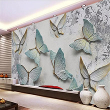Custom mural butterfly embossed background wall 3D simple European decorative painting factory wholesale wallpap