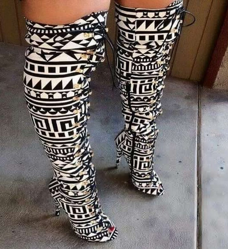 2015-Fashion-Mixed-Colors-Geometric-Printing-Women-Over-Knee-Boots-Lace-Up-High-Heels-Ladies-Sexy
