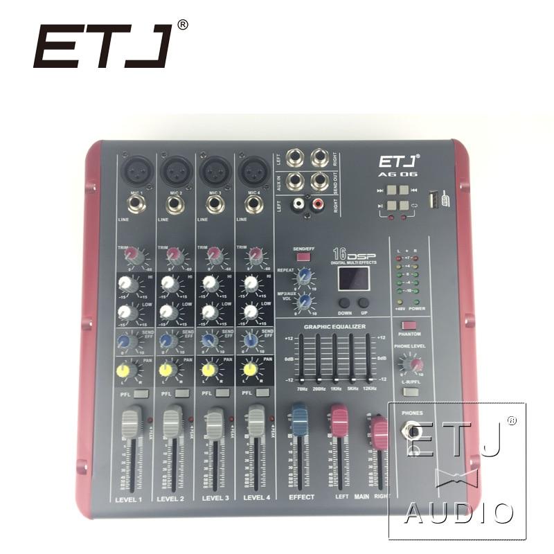 Brand ETJ AG06 (4 Mono + 2 Stereo) 16 DSP Sound Console Equipment Professional USB Audio DJ Mixer