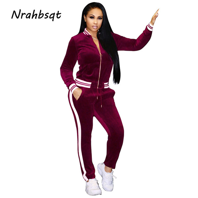 40ad5af3 NRAHBSQT Autumn Winter Two-piece Gold Velvet Sport Suit Jogging Suits For  Women Long Sleeve Fitness Clothes Gym Tracksuit RS023