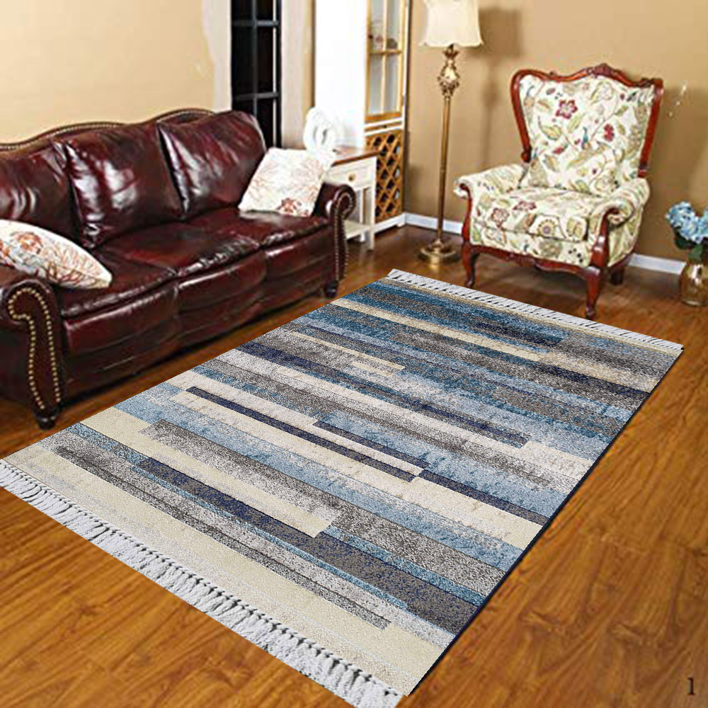 Else Blue Gray Black Stripes Lines Aging Vintage 3d Print Anti Slip Kilim Washable Decorative Kilim Area Rug Bohemian Carpet