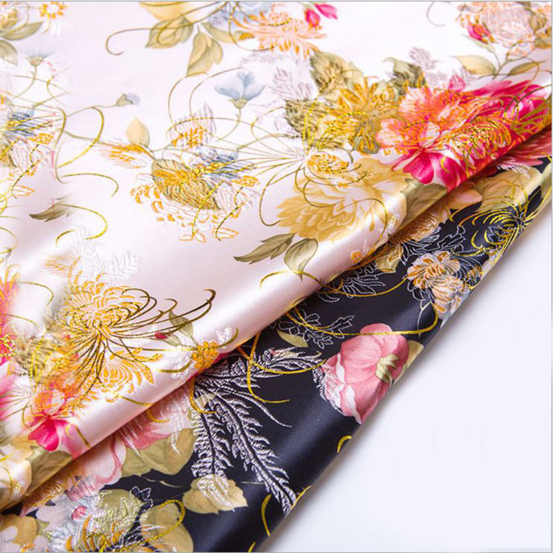 new arrival brocade golden silk peony fabric for patchwork felt tissue telas dress bed sheet children cloth coat bag 100x75cm