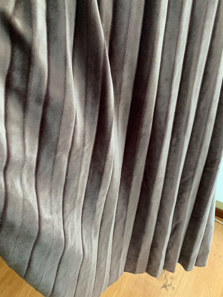 Women Long Metallic Silver Maxi Pleated Skirt Midi Skirt High Waist Elascity Casual Party Skirt photo review