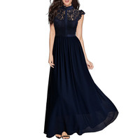 Autumn Fashion Chiffon Formal Dresses Party Ball Prom Gown Hollow Lace Maxi Dress Bridesmaid Size 2