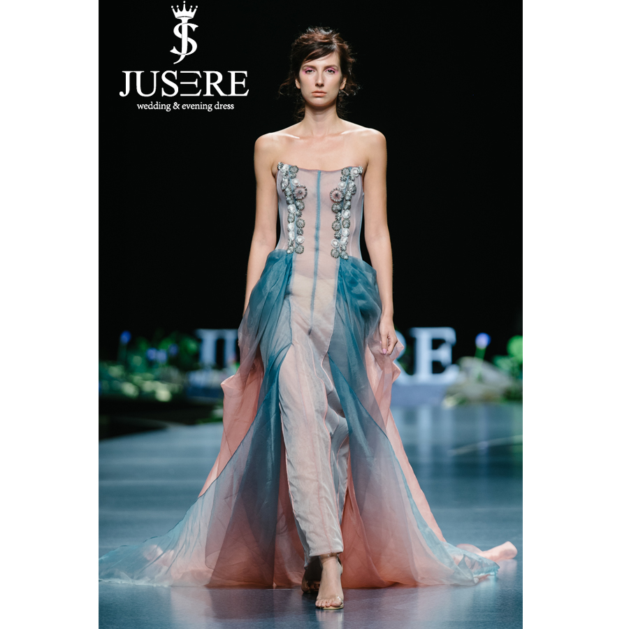 JUSERE 2019 SS FASHION SHOW Sexy See Through Straight Prom Dress Hand Beading Long Formal Party Gowns Vestido de festa longo