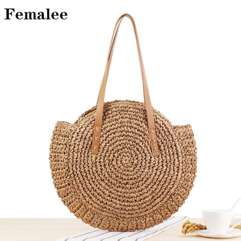 FEMALEE Round Straw Beach Bag Vintage Handmade Woven Shoulder Bag Raffia circle Rattan bags Bohemian Summer Vacation Casual Bags