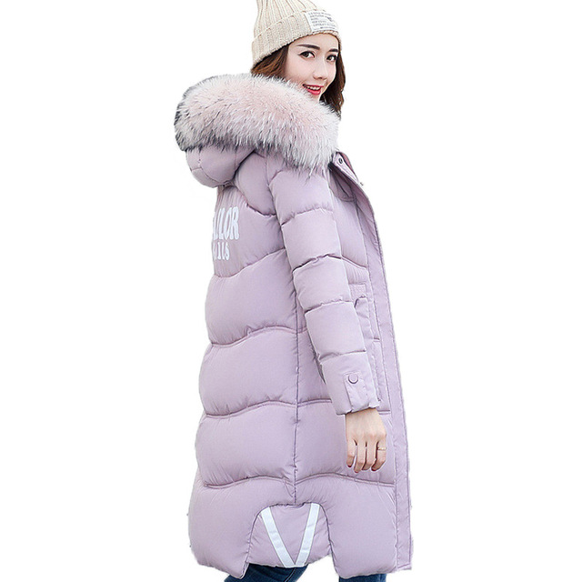 Winter Jacket Women New Hooded Fur collar Thickening Warm High quality Down Cotton Coat Fashion Irregular