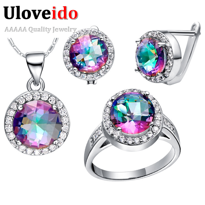 Uloveido Wedding Bridal Jewelry Sets for Women Silver Plated Ring Earrings Necklace Set Blue Rainbow CZ Diamond 49% off T484