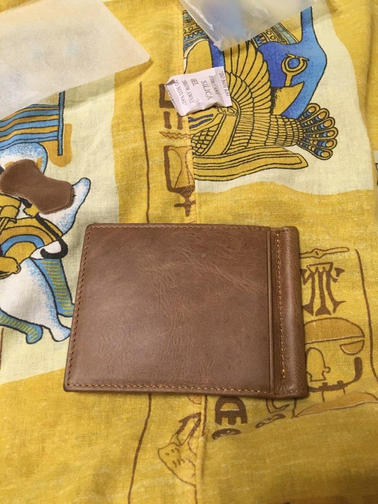 Genuine Leather Men Wallet RFID Purse With Cash Holder Clamp For Bills Card Holder And I Money Clip Male Metal Pocket Kashelek photo review