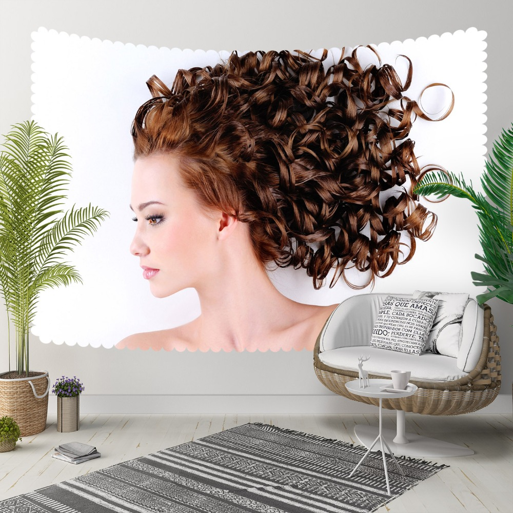 Else White Floor On Curly Hair Women Beauty 3D Print Decorative Hippi Bohemian Wall Hanging Landscape Tapestry Wall Art