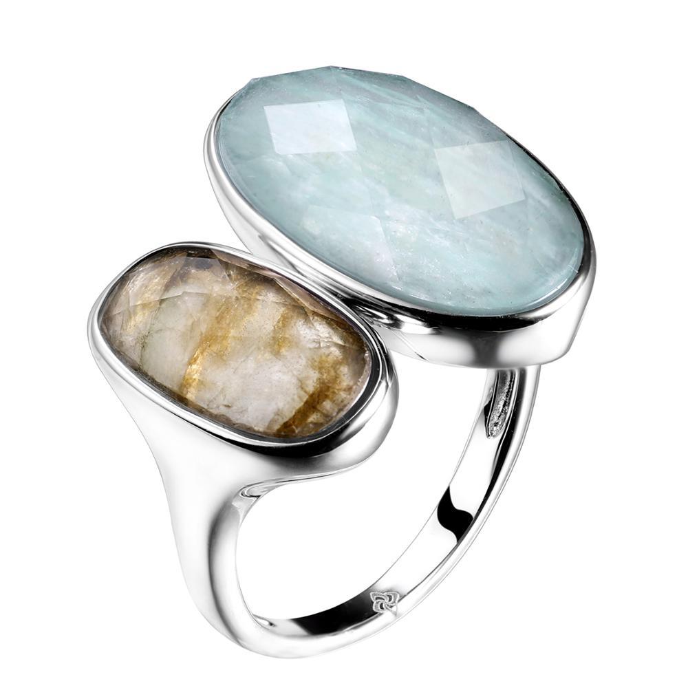 Bague en argent sterling DORMITH real 925 bague en pierre naturelle amazonite labradorite pour femmes