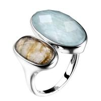 DORMITH real 925 sterling silver gemstone ring natural amazonite labradorite stone rings for women jewelry rejustable size ring