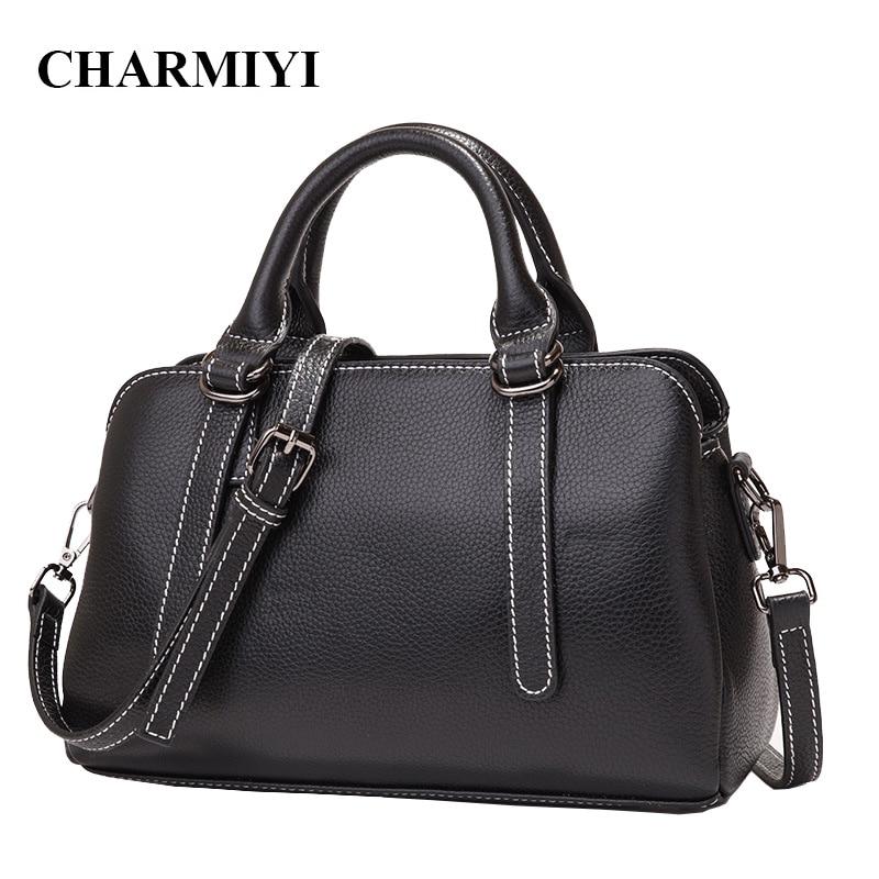 CHARMIYI Luxury Genuine Leather Simple Women Handbags Large Capacity Ladies Shoulder bags Business Female Tote Messenger bag