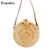 FEMALEE Crossbody Bags For Women 2018 Summer Round Bali Rattan Bag Wicker Woven Girls Bolsa Bohemian Style Handmade Shoulder Bag