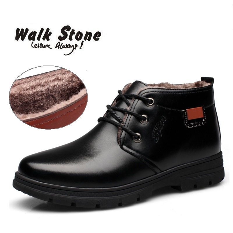 Male New Handmade Men Leather Winter Warm Waterproof High Quality Snow Boots Men's Ankle Boots Business Male Dress Shoes Hombre